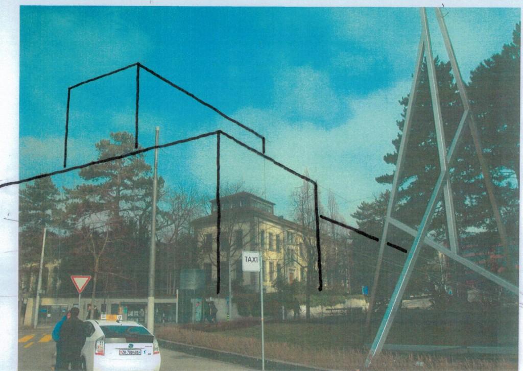 Fotomontage Sicht von der Freiestrasse auf Augenhöhe