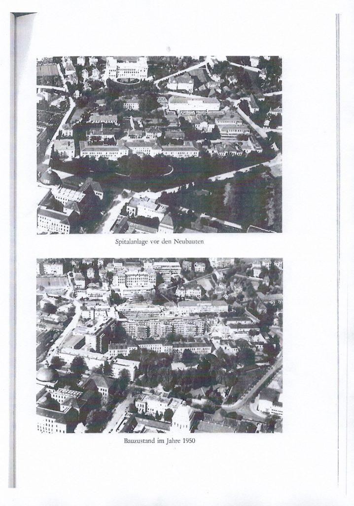 """Hier wird ersichtlich, dass der HMS Bau um das alte Kantonsspital herumgebaut wurde. Das heiist die Form des HMS Bau war damls eine Notlösung. Die grosse Frage ist nun, welcher der beiden Bauten hatmehr Recht auf das """"denkmalgeschütztsein""""? Auch der der alte Spitalbau hatte durchaus Qualitäten, dieser wurde aber der Ratio der 1950 Jahre geopfert. Die zweite Frage ist nun warum nun nicht auch der HMS bau der Ratio des 21 Jh. opfern. Diese beiden Bilder zeigen auf eindrückliche Weise , wie angebliche Denkmalschutz-Absolutismen , letztendlich doch Relativ zu den momentan herrschenden Machtallüren der jeweiligen Entitäten sind."""